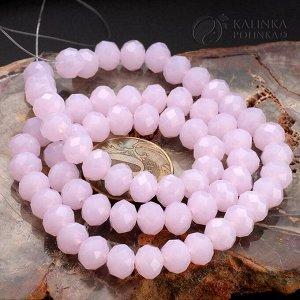 Бусины хрустальные рондели, имитация Сваровски, цвет розовый кварц, р-р 8х6мм, в нитке 43см/68 бусины.