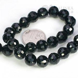 Бусины хрустальные круглые, имитация Сваровски, чёрные непрозрачные, р-р 10мм, отв-е 1мм, в нитке 70 бусин.