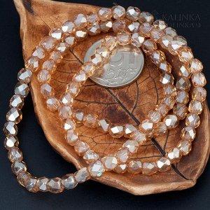 Хрустальные бусины имитация Сваровски, бочонки цвет медовый, глянцевые, р-р 6мм, отв-е 1мм, в нитке 100 бусин.