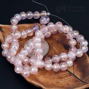 Хрустальные бусины имитация Сваровски, форма шар, нежно-розовые, р-р 8м, отв-е 1мм, в нитке 72 бусины.