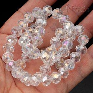 Бусины хрустальные рондели, имитация Сваровски, бесцветные, AB покрытие, р-р 10х7мм, отв-е 1мм, в нитке 68 бусин.