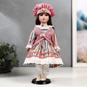 """Кукла коллекционная керамика """"Катя в платье в полоску и розовом жилете"""" 40 см"""