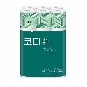 "Мягкая туалетная бумага ""CODI - Deco Plus"" (трехслойная, с тиснёным рисунком) 25 м х 30 рулонов"