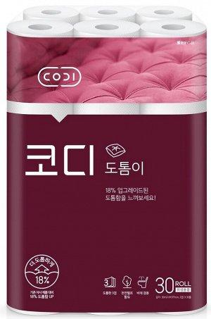 """Особомягкая туалетная бумага """"CODI-Totumi"""" повышенной плотности (трехслойная, с тиснёным рисунком) 30 м х 30 рулонов"""