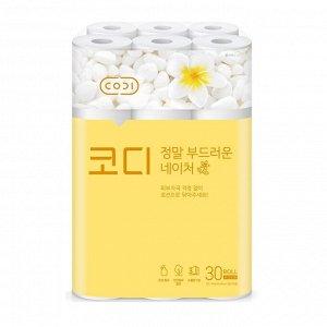 """Особомягкая туалетная бумага """"CODI-Amazingly Soft Nature"""" с увлажняющим лосьоном (трехслойная, с тиснением цветным рисунком) 30 м х 30 рулонов"""