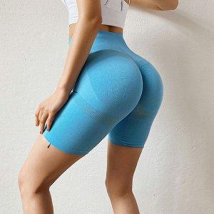 Небесно-голубые спортивные шорты велосипедки для фитнеса