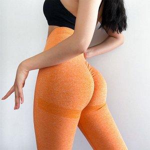 Оранжевые леггинсы с высокой талией