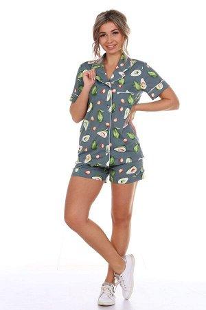 """Пижама зелёная с шортами """"Авокадо"""""""
