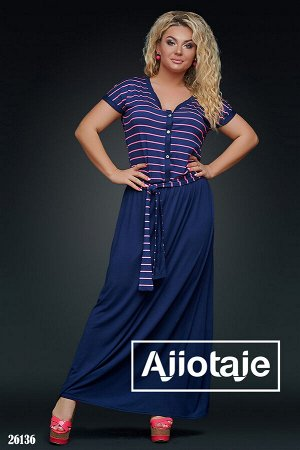 Платье в пол темно-синего цвета с пояском