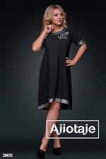 Асимметричное платье черного цвета с аппликацией