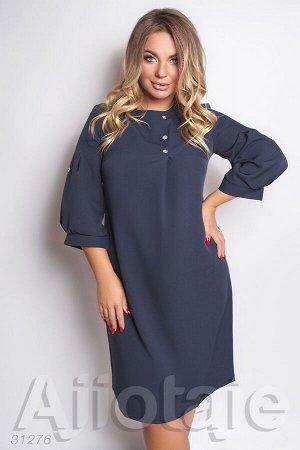 Темно-синее платье миди с рукавом фонарик