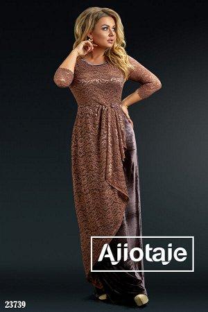 Платье в пол шоколадного цвета с бархатной юбочкой