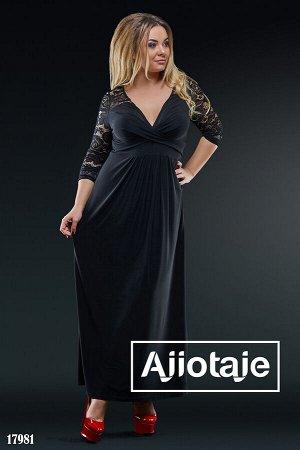 Платье в пол черного цвета с вырезом на запах