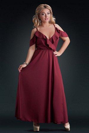 Бордовое платье макси с декольте на запах