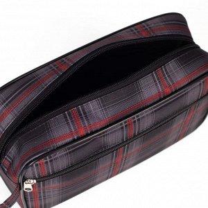Косметичка дорожная, отдел на молнии, с подкладом, наружный карман, цвет красно-серый
