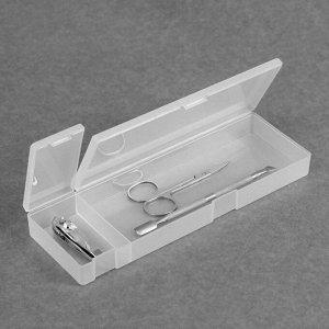 Органайзер для маникюрных/косметических принадлежностей, с крышкой, 2 ячейки, 21 ? 7 ? 2,5 см, цвет прозрачный