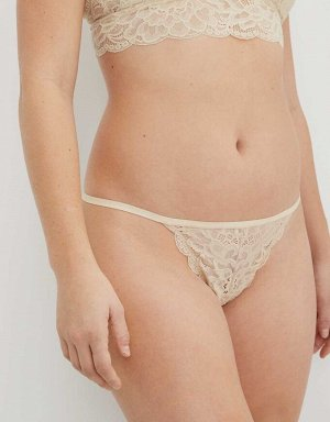 Aerie New Blooms Lace High Cut String Thong Underwear