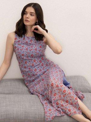 Платье с цветочным принтом PL1055/mono, р.50