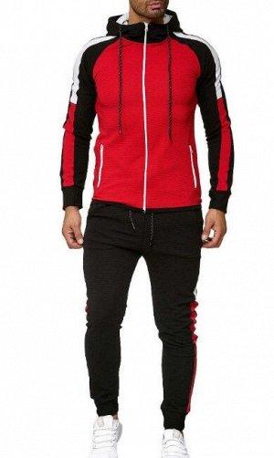 Мужской костюм (ветровка и брюки), красный верх/черный низ
