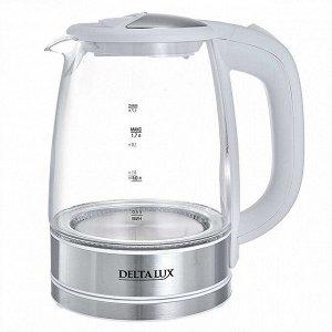 Чайник электрический 2200 Вт, 1,7 л DELTA LUX DL-1204W белый
