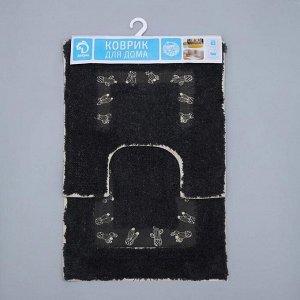 Набор ковриков для ванны и туалета Доляна «Кактус», 2 шт: 40?40, 40?6 см0, 900 г/м2, 100% хлопок, цвет чёрный