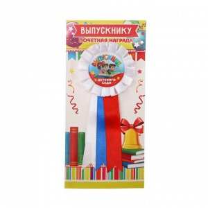 Значок - орден пластик «Выпускник детского сада на книге», 4,5 х 17 см