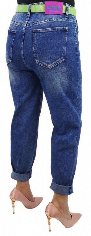 Джинсы Джинсы MOM / джинсы бананы Тип посадки: высокая; заужены к низу. Детали: застежка на молнию и пуговицу, три кармана спереди и два сзади, шлевки для ремня;  Длина изделия (31 размер) по внешней