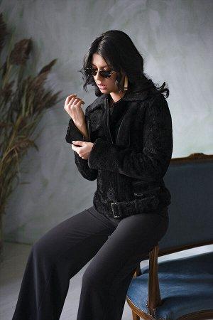 Дубленка-косуха цвет черный