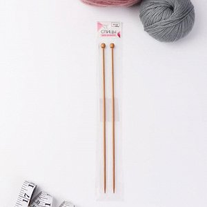 Спицы для вязания, прямые, d = 3 мм, 25 см, 2 шт