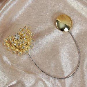 Подхват для штор «Хвост павлина» со стразами. 7 ? 5.5 см. цвет золотой