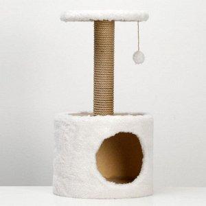 Домик с когтеточкой круглый, 34 х 34 х 64 см, светло-бежевый
