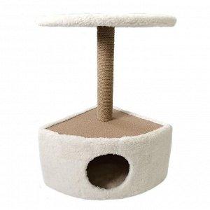 Домик угловой округлый для животных, 39 х 39 х 69 см, джут, бежевый