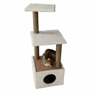 Домик для животных с двумя полками, 38,5 х 38,5 х 106 см, джут, бежевый
