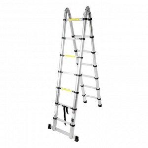 Стремянка-лестница телескопическая TUNDRA, раскладная, алюминиевая, 2.2 х 2.2 м