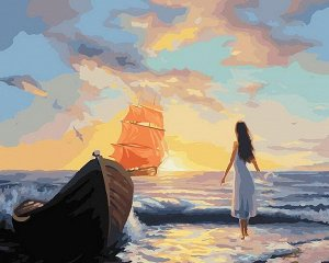 Набор для творчества Белоснежка картина по номерам на холсте Алые паруса 40*50 см6