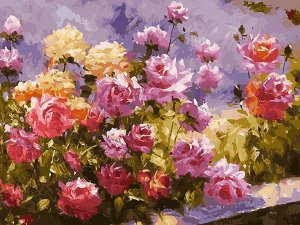 Набор для творчества Белоснежка картина по номерам на холсте Букет роз 30*40 см9