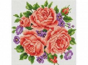Набор для творчества Белоснежка алмазная мозайка Розы и фиалки 20 на 20 см3