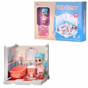 Игровой набор ABtoys Модульный домик (собери сам), 1 секция. Мини-кукла в ванной комнате, в наборе с аксессуарами70