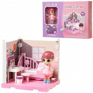 Игровой набор ABtoys Модульный домик (собери сам), 1 секция. Мини-кукла в спальне, в наборе с аксессуарами67