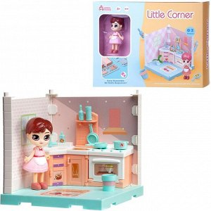 Игровой набор ABtoys Модульный домик (собери сам), 1 секция. Мини-кукла на кухне, в наборе с аксессуарами72
