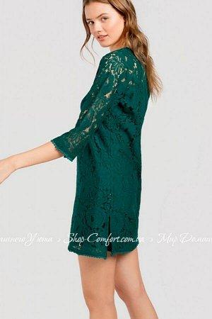 Платье 3/2053платье70%CO 30%PA/ 100%CO,  С-S-1,M-2,L-1,XL-1 Летнее, женское платье однотонного, изумрудного цвета из легкой, мягкой, кружевной ткани. Платье длиной выше колен, свободного кроя, с под