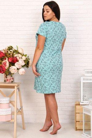 Сорочка ЦВЕТ: зеленый СОСТАВ: 100% хлопок Сорочка прямого кроя, короткий рукав, длина чуть выше колена, горловина округлой формы, оформлена кружевом.