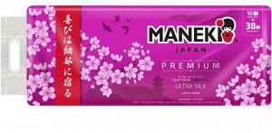 """Туалетная бумага Maneki """"Sakura"""" трехслойная с легким ароматом сакуры 10 рулонов/1 упаковка"""