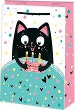 """Бумажный подарочный пакет """"Кот с тортом"""""""