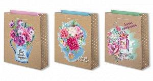 """Бумажный подарочный пакет """"Цветы"""""""