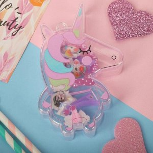 """Набор детский 5 предметов: 2 заколки, браслет,клипсы,кольцо """"Единорог"""", цветной"""