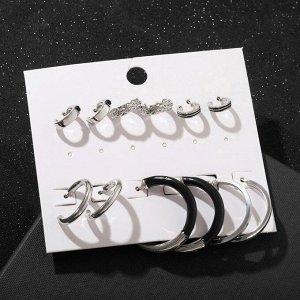 """Серьги-кольца набор 6 пар """"Варианты"""" рисунок, цвет чёрный в серебре, d=3.5"""