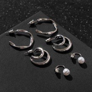 """Серьги-кольца набор 3 пары """"Нежность"""" изящная жемчужинка, цвет белый в серебре, d=2,5"""