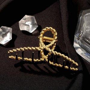 """Краб для волос """"Валери"""" плетёная петелька, 7,5 см, золото"""