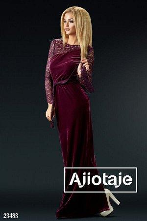 Бархатное платье в пол бордового цвета с пояском